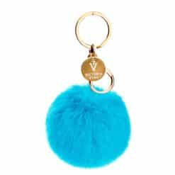 Victoria Vynn Fluffy Ball Keychain - Turquoise